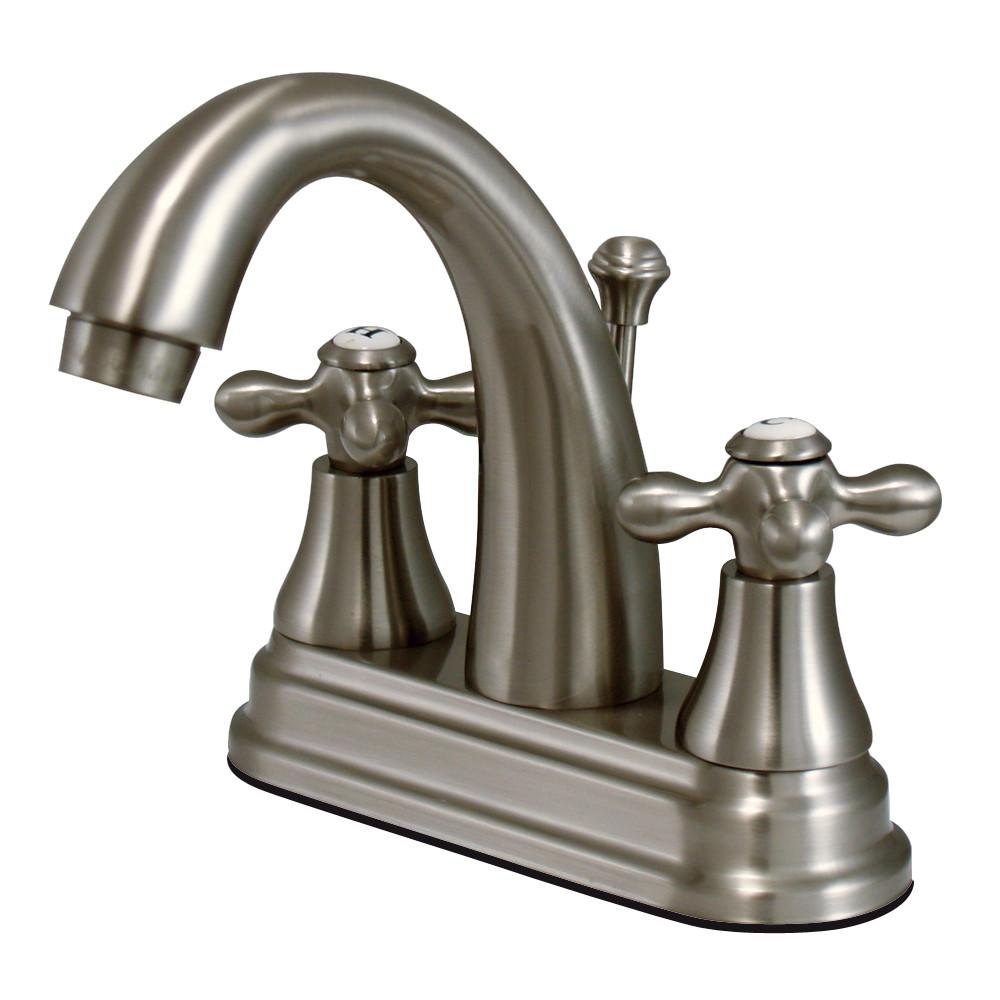 "Kingston Satin Nickel 2 Handle 4"" Centerset Bathroom Faucet w Pop-up KS7618AX"