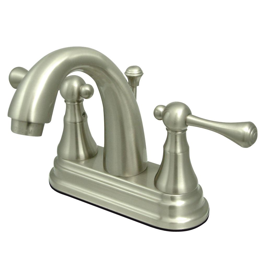 "Kingston Satin Nickel English Vintage 4"" Centerset Bathroom Faucet KS7618BL"