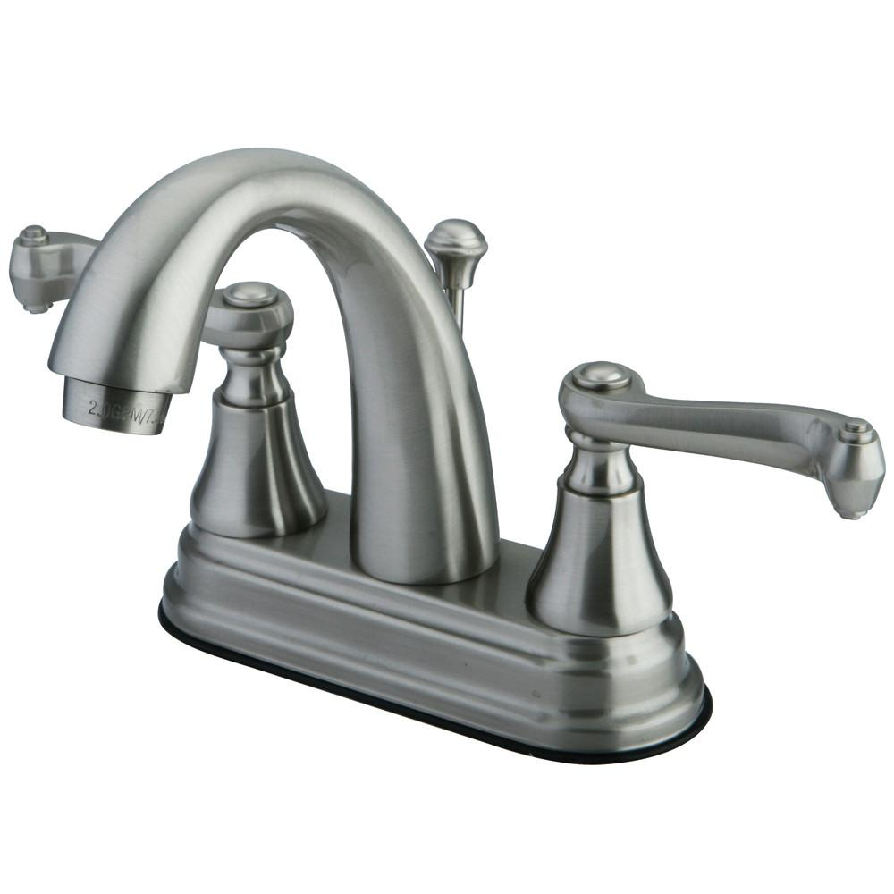 "Kingston Satin Nickel 2 Handle 4"" Centerset Bathroom Faucet w Pop-up KS7618FL"