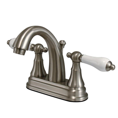"Kingston Satin Nickel 2 Handle 4"" Centerset Bathroom Faucet w Pop-up KS7618PL"