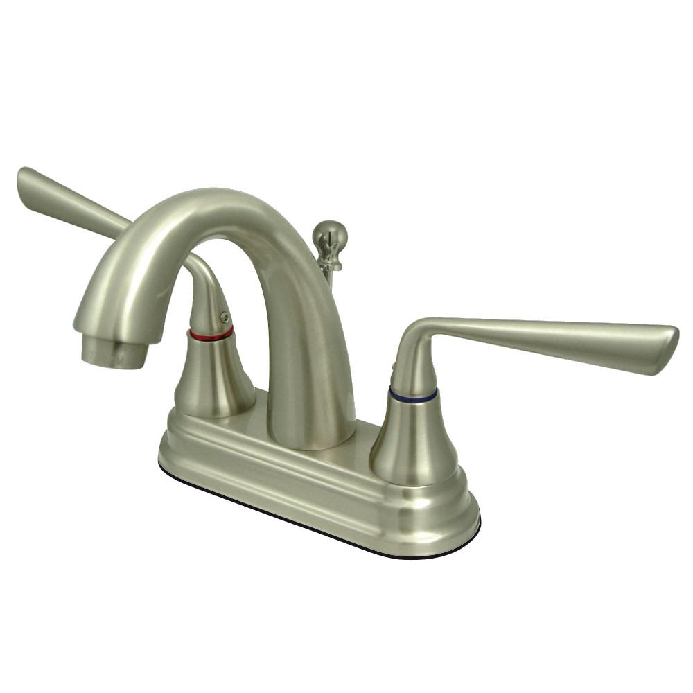 "Kingston Silver Sage Satin Nickel 4"" Centerset Bathroom Faucet W Drain KS7618ZL"