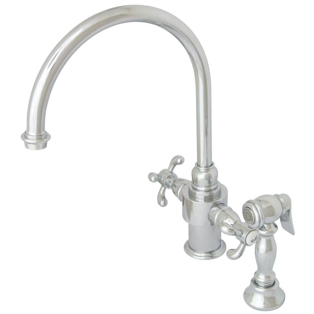 Kingston Brass Chrome French Country Kitchen Faucet w/ Brass Sprayer KS7711TXBS