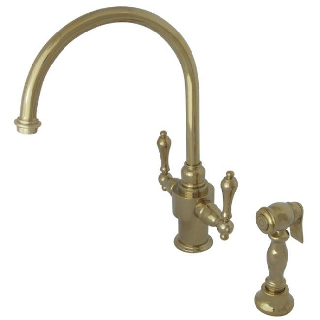 Kingston English Country Polished Brass Kitchen Faucet w Sprayer KS7712ALBS