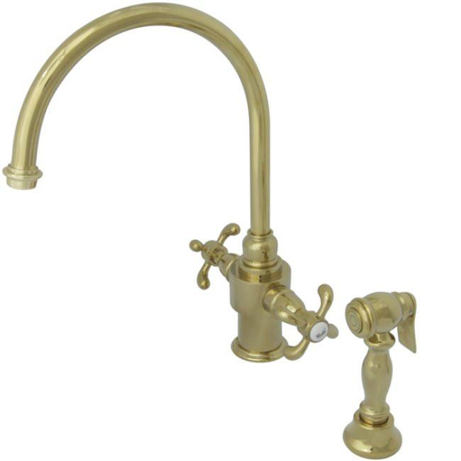 Kingston Polished Brass French Country Kitchen Faucet w Sprayer KS7712TXBS