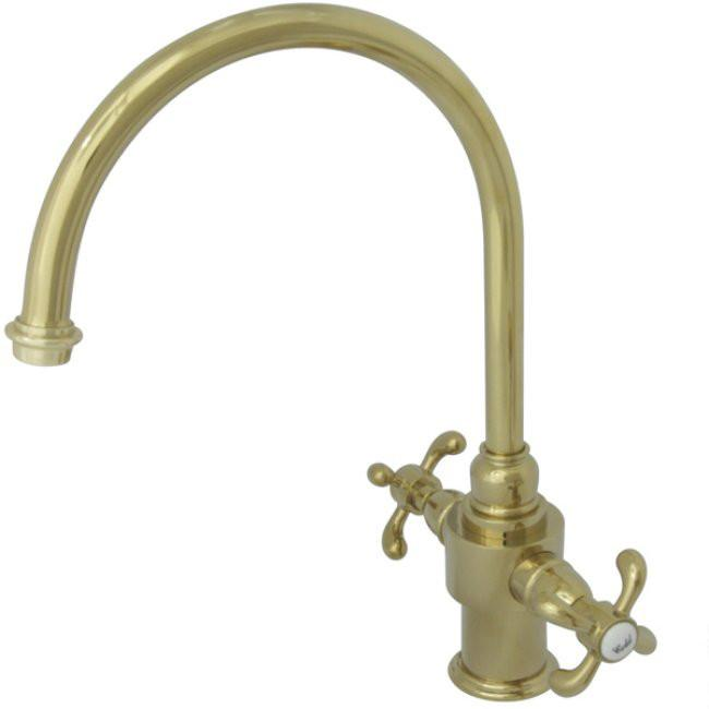 Kingston Polished Brass French Country Two Handle Kitchen Faucet KS7712TXLS