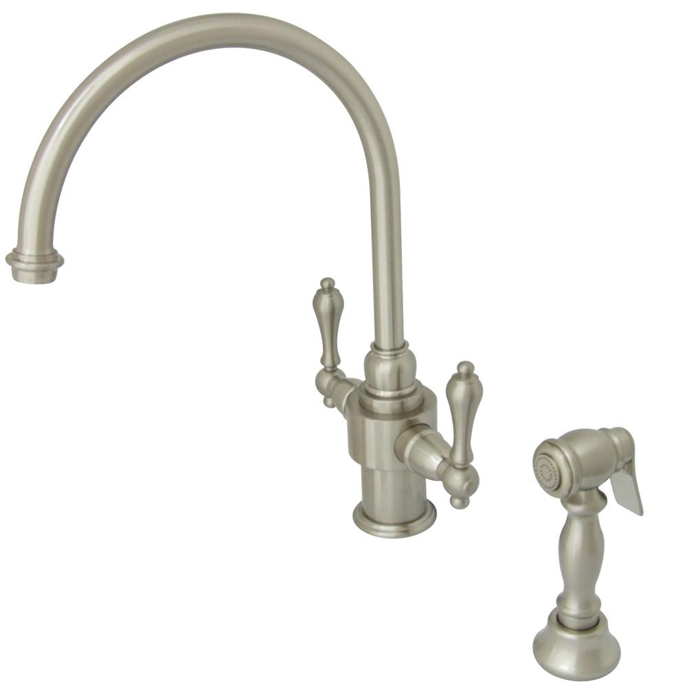 Kingston English Country Satin Nickel Kitchen Faucet w Brass Sprayer KS7718ALBS