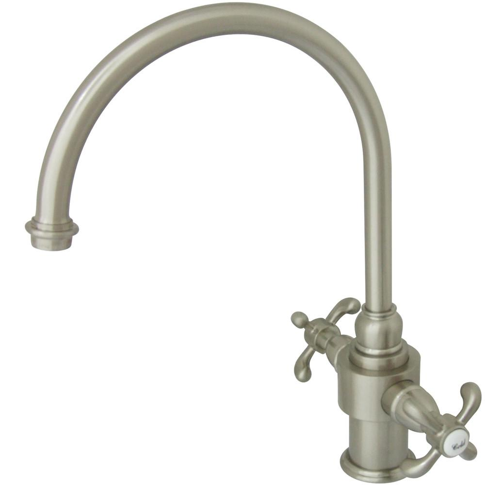 Kingston Brass Satin Nickel French Country Two Handle Kitchen Faucet KS7718TXLS