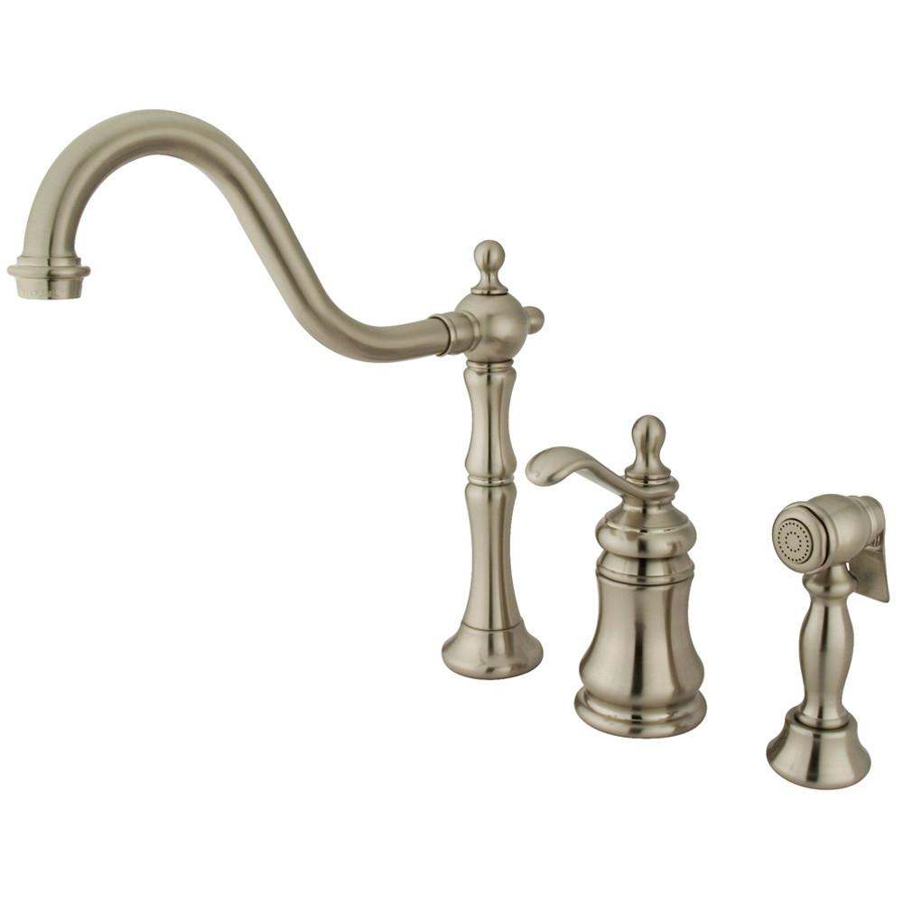 Kingston Satin Nickel Templeton Widespread Kitchen Faucet W Sprayer KS7808TPLBS