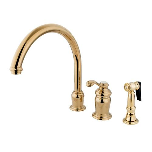Kingston Polished Brass Templeton High Spout Kitchen Faucet W/Sprayer KS7822TLBS