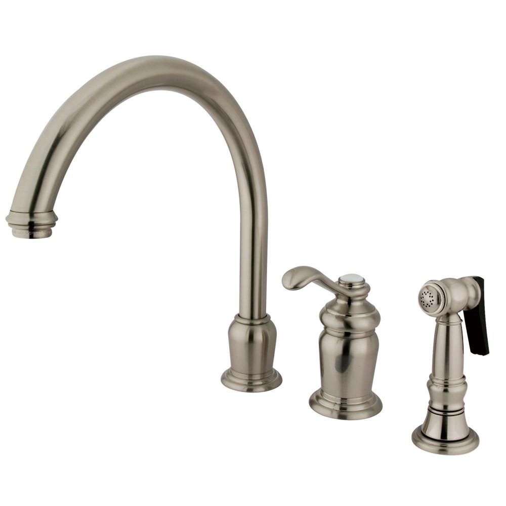 Kingston Satin Nickel Templeton High Spout Kitchen Faucet With Spray KS7828TLBS