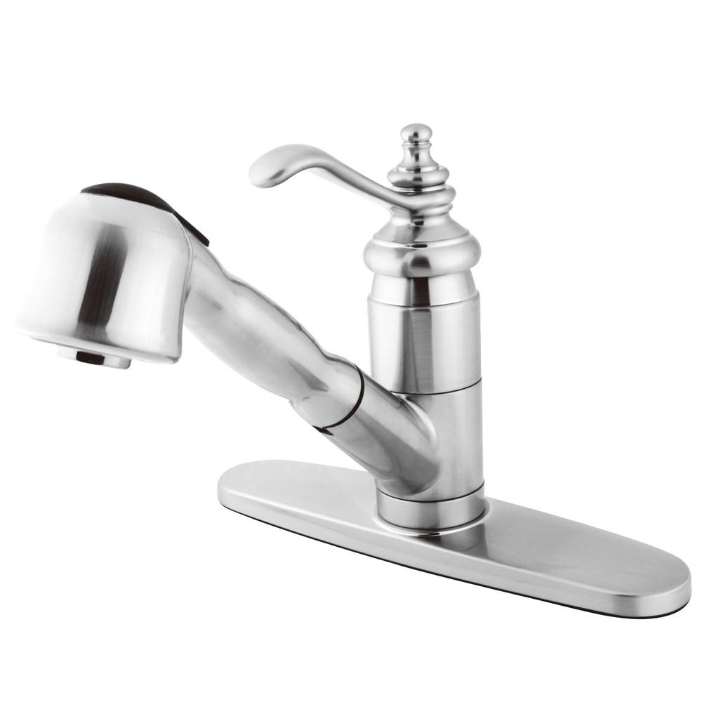 Kingston Brass Chrome Templeton Pull-Out Sprayer Kitchen Faucet KS7891TL