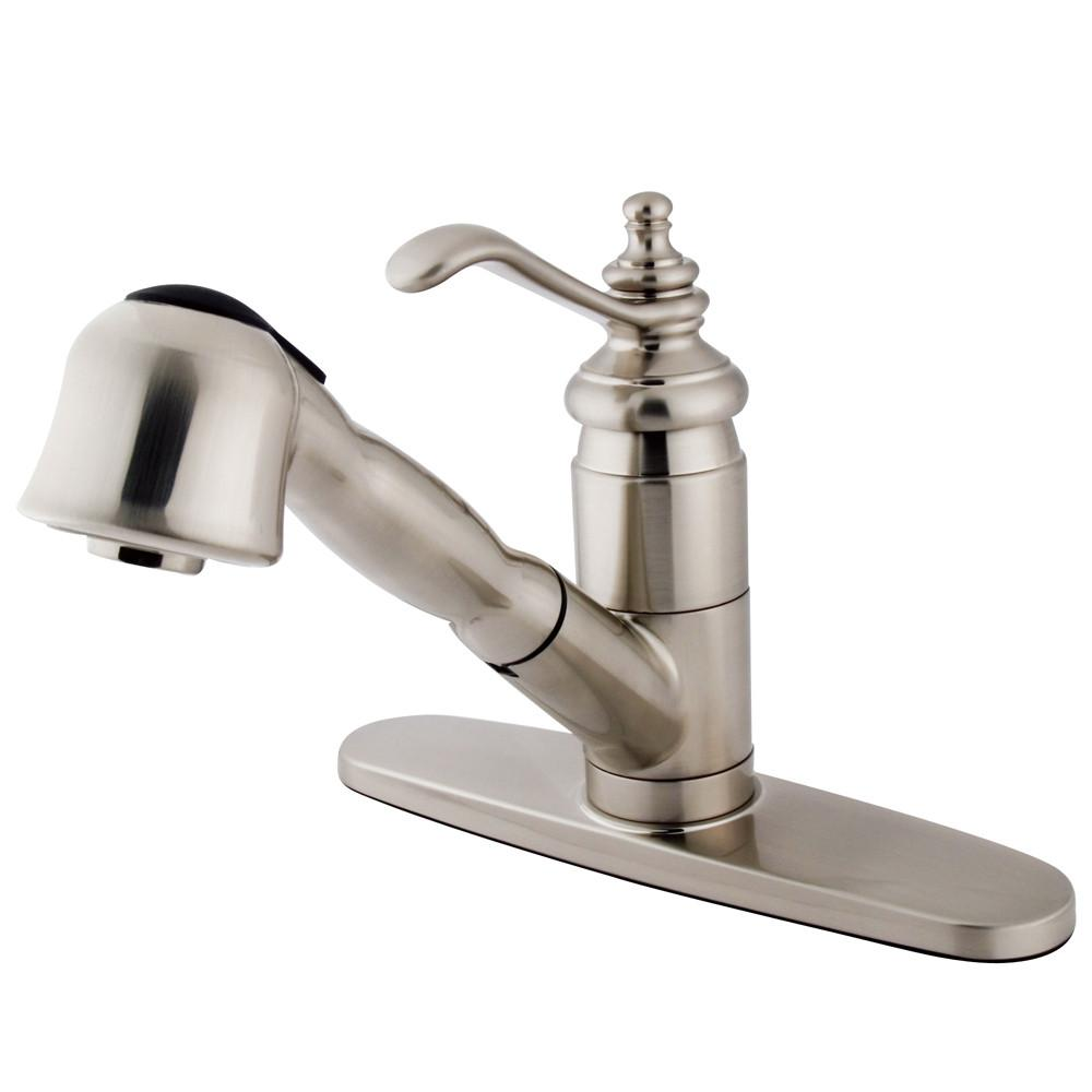 Kingston Brass Satin Nickel Templeton Pull-Out Sprayer Kitchen Faucet KS7898TL
