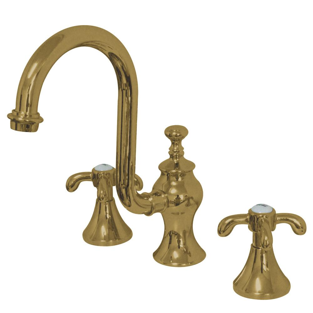 "Kingston Polished Brass French Country 8"" Widespread Bathroom Faucet KS7982TX"