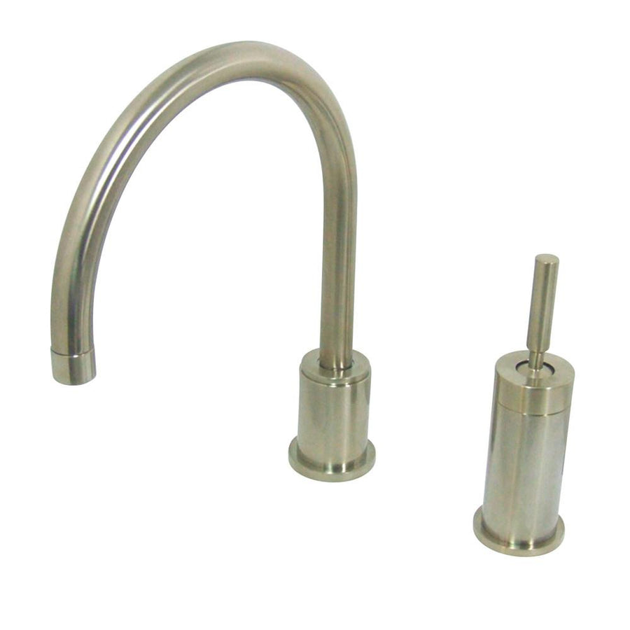 2 hole kitchen faucets widespread kitchen faucet Kingston Brass Satin Nickel Single Lever Widespread Kitchen Faucet KSDLLS