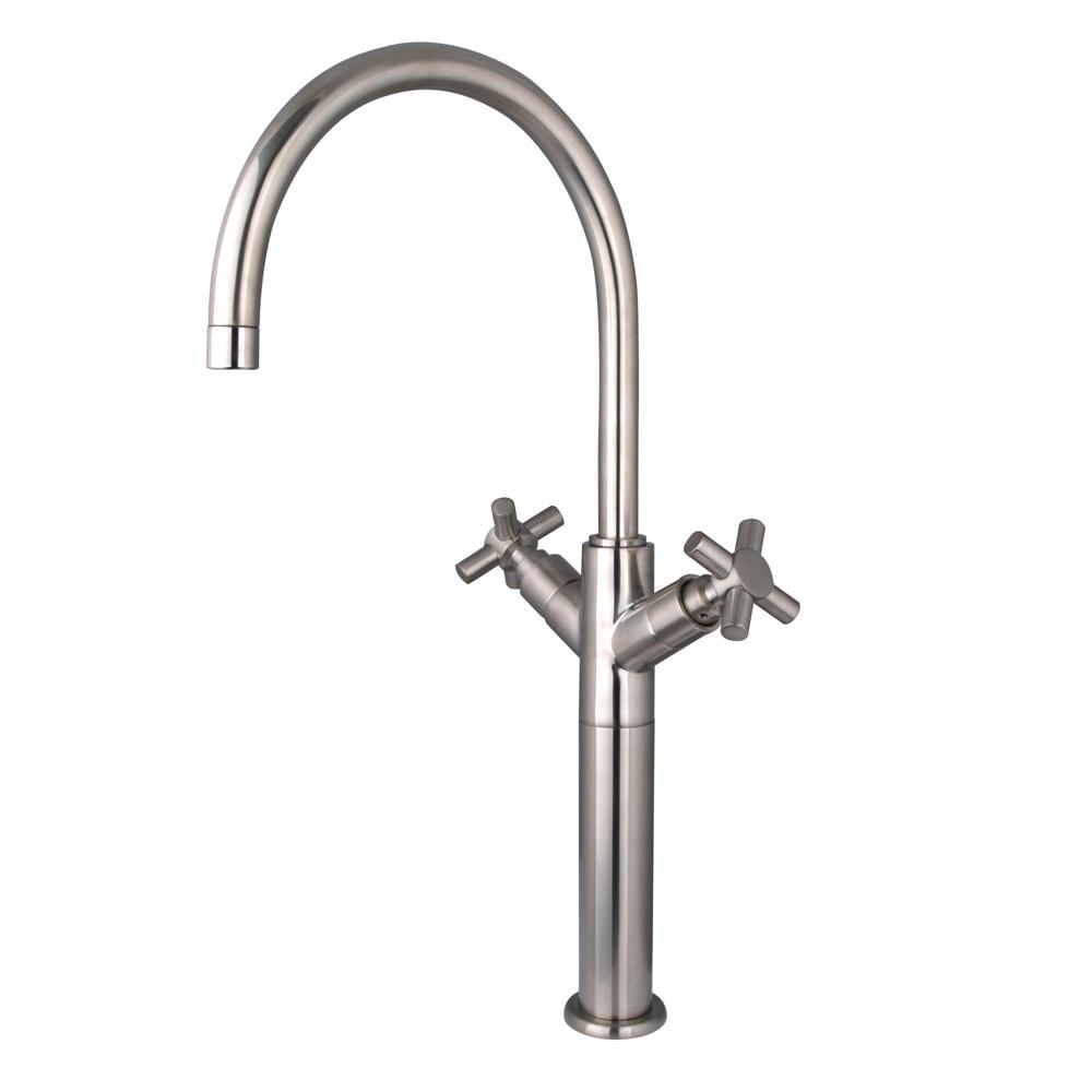 Kingston Brass Concord Satin Nickel Cross Handle Vessel Sink Faucet KS8068JX