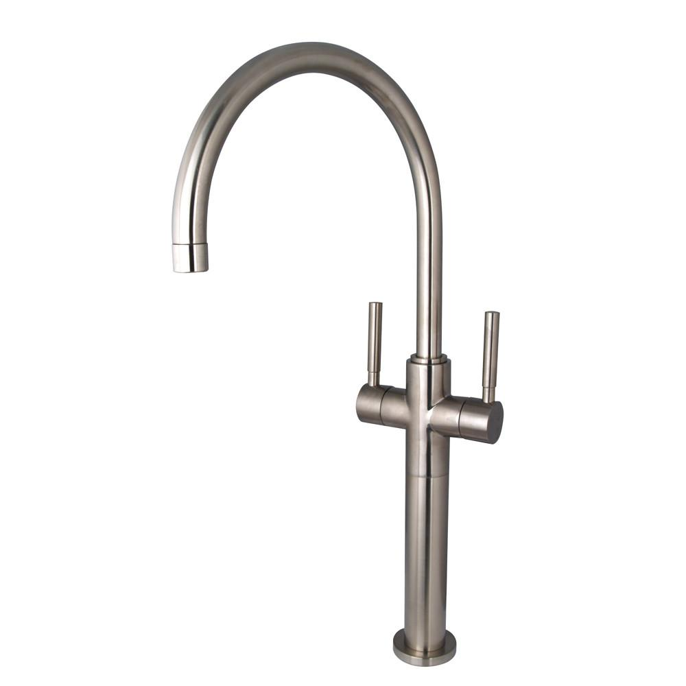 Kingston Brass Concord Satin Nickel 2 Lever Handle Vessel Sink Faucet KS8098DL