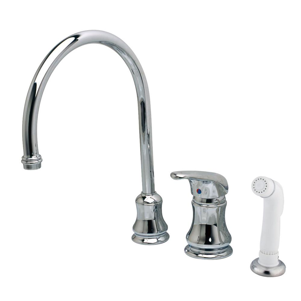 Kingston Brass Chrome Single Handle Goose Neck Kitchen Faucet with Spray KS821C