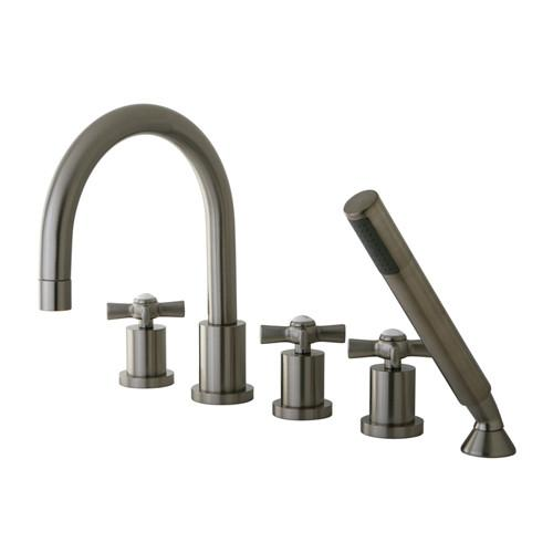 Kingston Brass KS83285ZX 5-Piece Roman Tub Filler with Spray Satin Nickel
