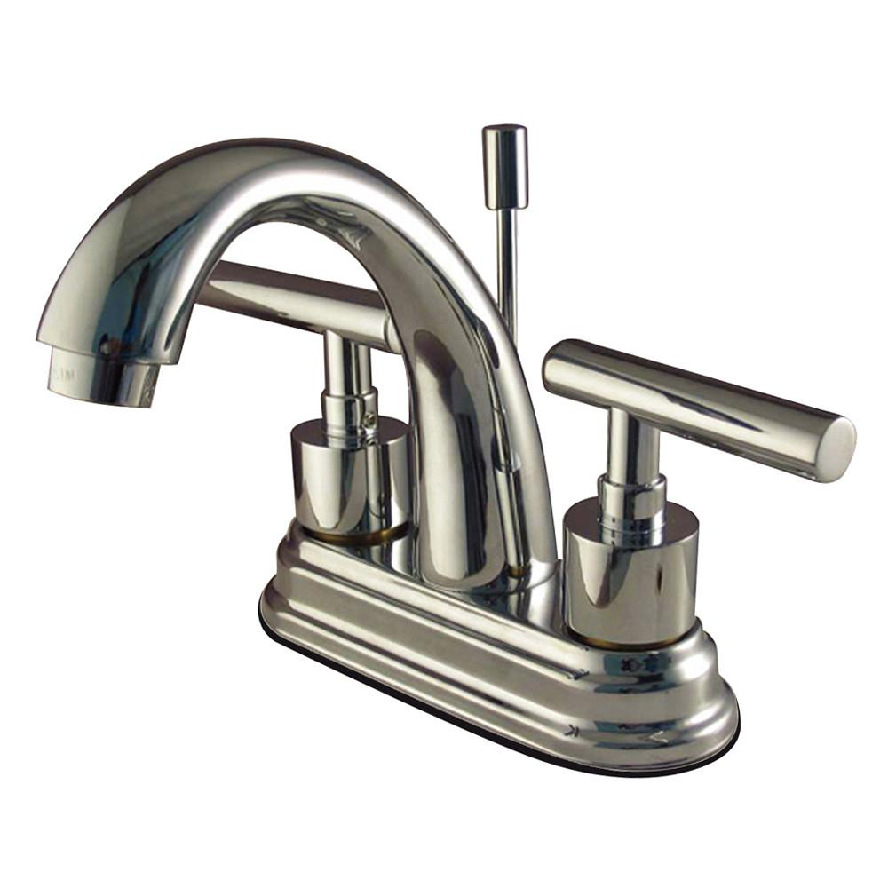 "Kingston Brass Chrome Manhattan 4"" Bathroom faucet with brass pop-up KS8611CML"