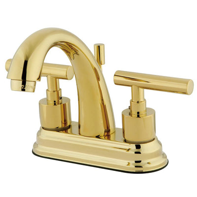 "Kingston Polished Brass Manhattan 4"" Bathroom faucet with brass pop-up KS8612CML"