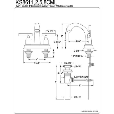 "Kingston Oil Rubbed Bronze Manhattan 4"" Bathroom faucet with drain KS8615CML"