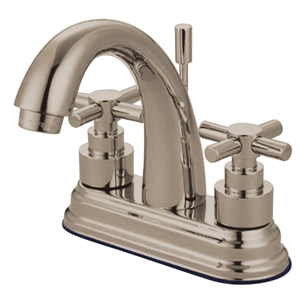 "Kingston Satin Nickel 2 Handle 4"" Centerset Bathroom Faucet w Pop-up KS8618EX"