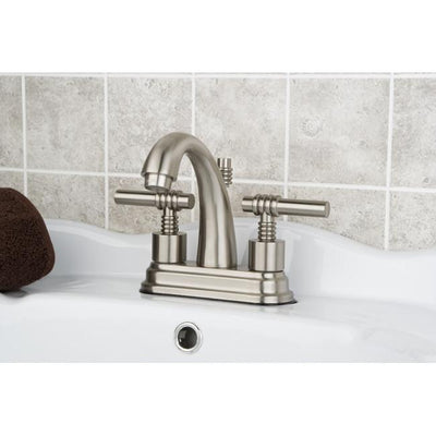 "Kingston Satin Nickel 2 Handle 4"" Centerset Bathroom Faucet w Pop-up KS8618ML"