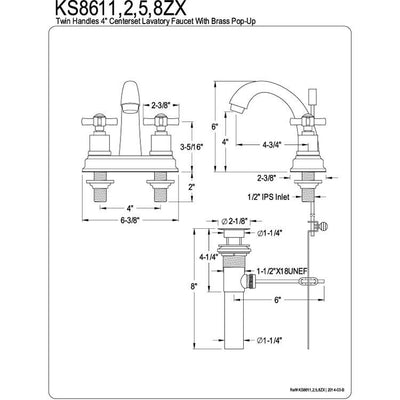 "Kingston Brass KS8618ZX 4"" Centerset Bathroom Faucet Satin Nickel"
