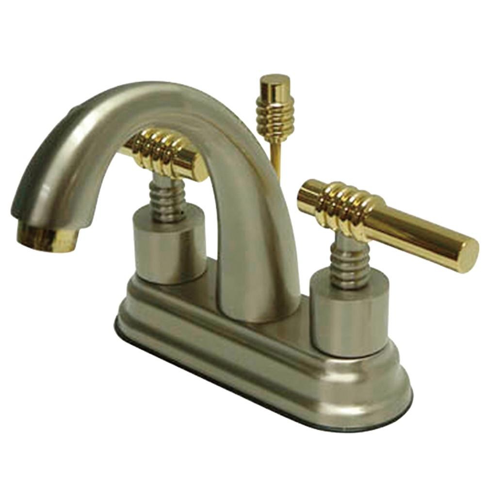 Kingston Satin Nickel/Polished Brass Centerset Bathroom Faucet w Pop-up KS8619ML