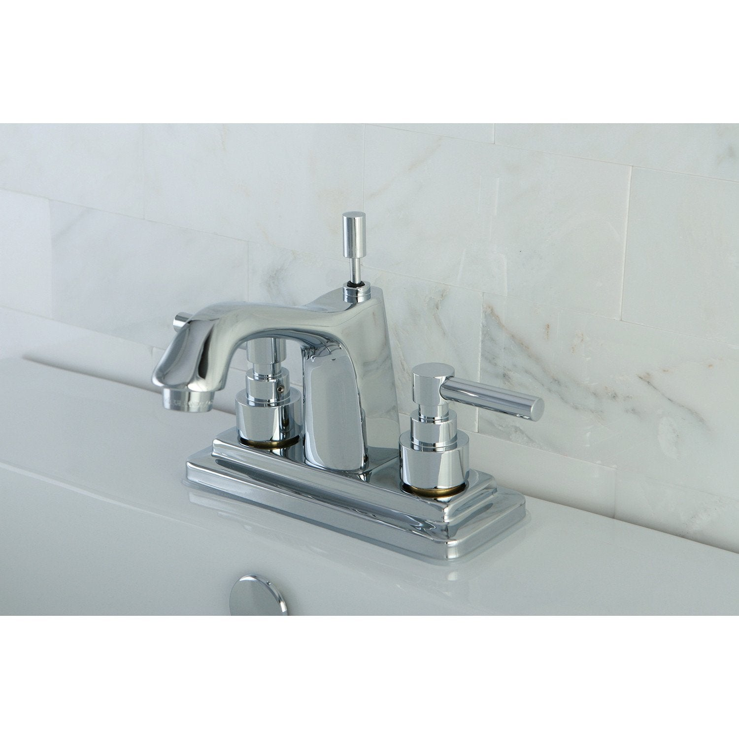 "Kingston Brass Chrome 2 Handle 4"" Centerset Bathroom Faucet w Pop-up KS8641EL"