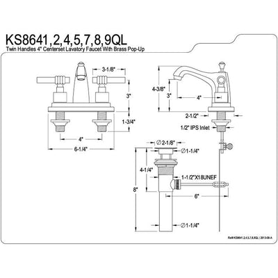"Kingston Brass Chrome 2 Handle 4"" Centerset Bathroom Faucet w Pop-up KS8641QL"