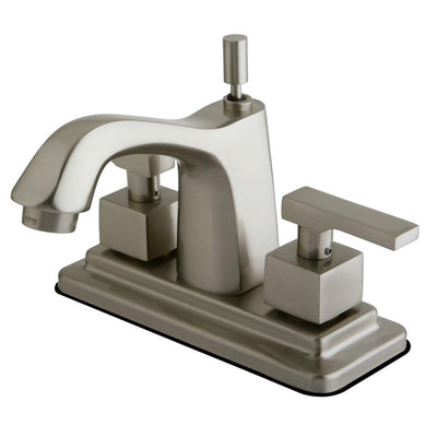 "Kingston Satin Nickel 2 Handle 4"" Centerset Bathroom Faucet w Pop-up KS8648QLL"