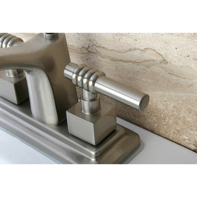 "Kingston Satin Nickel 2 Handle 4"" Centerset Bathroom Faucet w Pop-up KS8648QL"