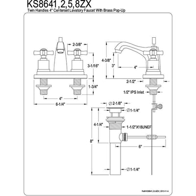 "Kingston Brass KS8648ZX 4"" Centerset Bathroom Faucet Satin Nickel"