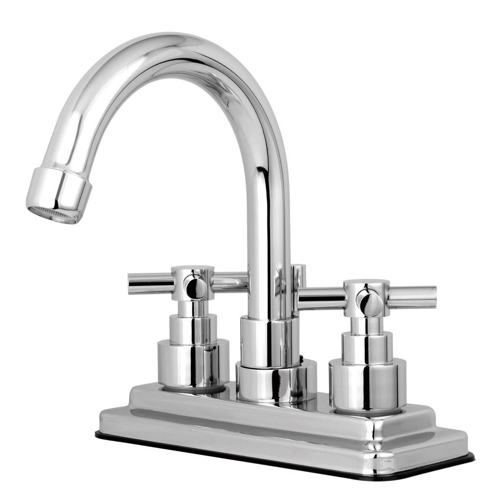 "Kingston Brass Chrome 2 Handle 4"" Centerset Bathroom Faucet w Pop-up KS8661EX"