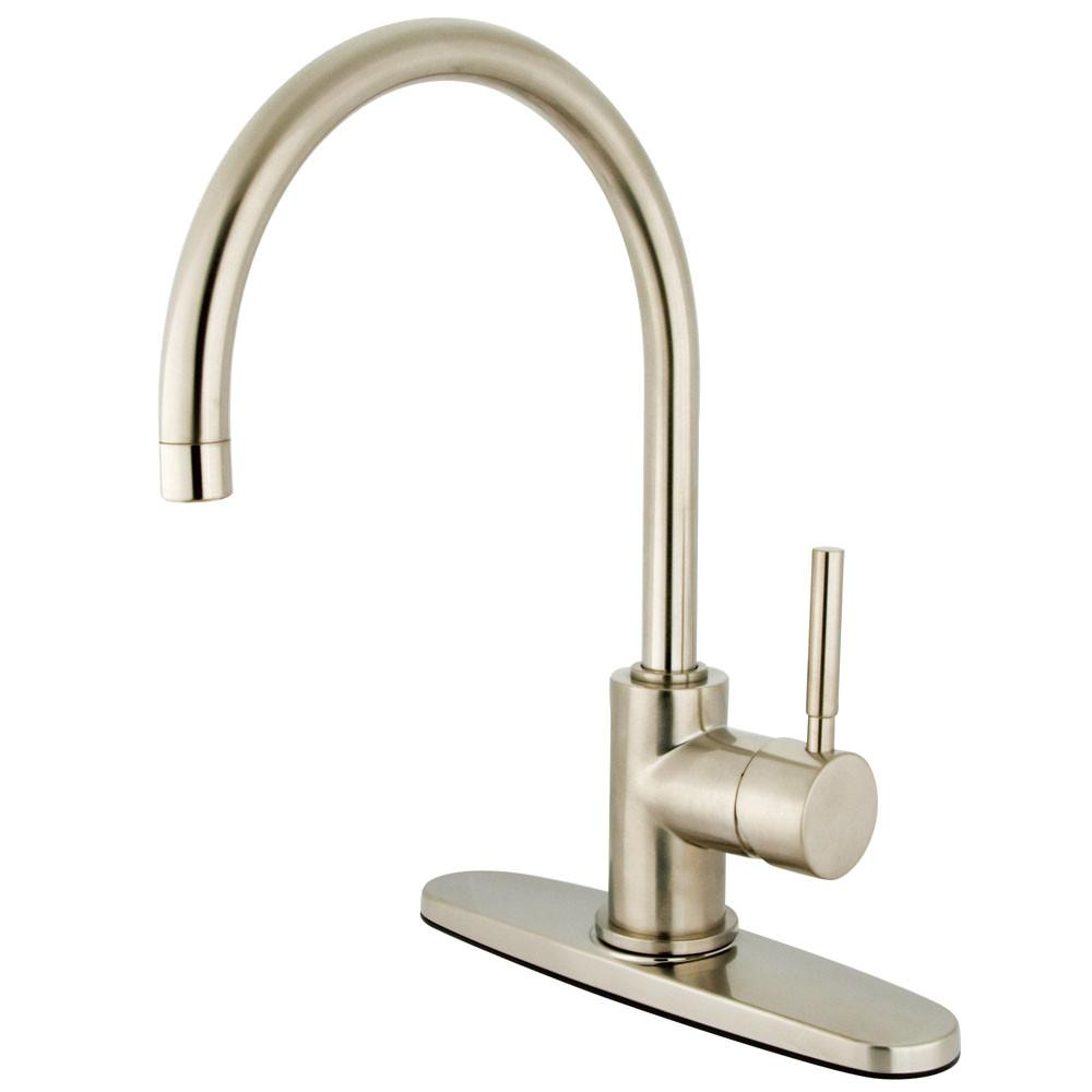 Kingston Brass Concord Satin Nickel Single Handle Kitchen Faucet KS8718DLLS