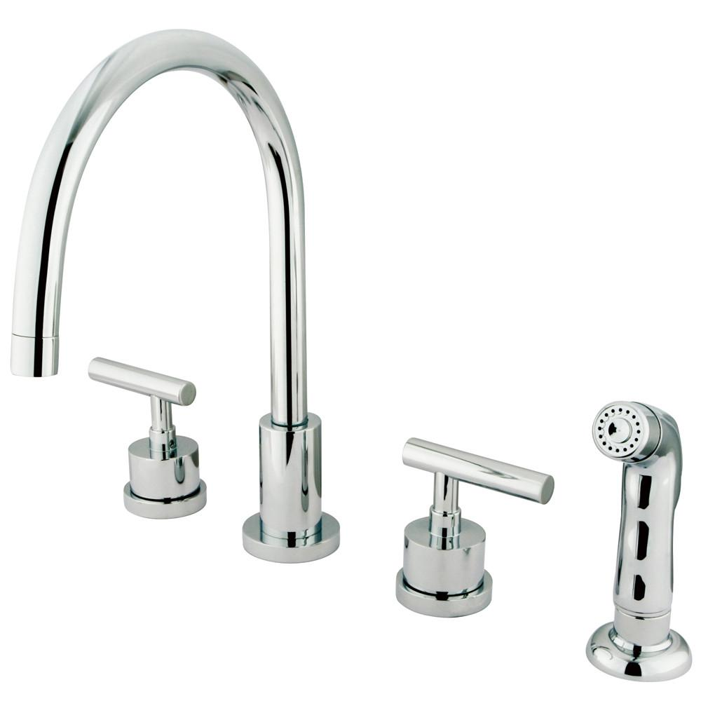 Kingston Chrome Manhattan widespread kitchen faucet with sprayer KS8721CML