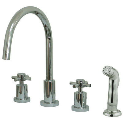 Chrome Two Handle Widespread Kitchen Faucet Matching Plastic Sprayer KS8721DX