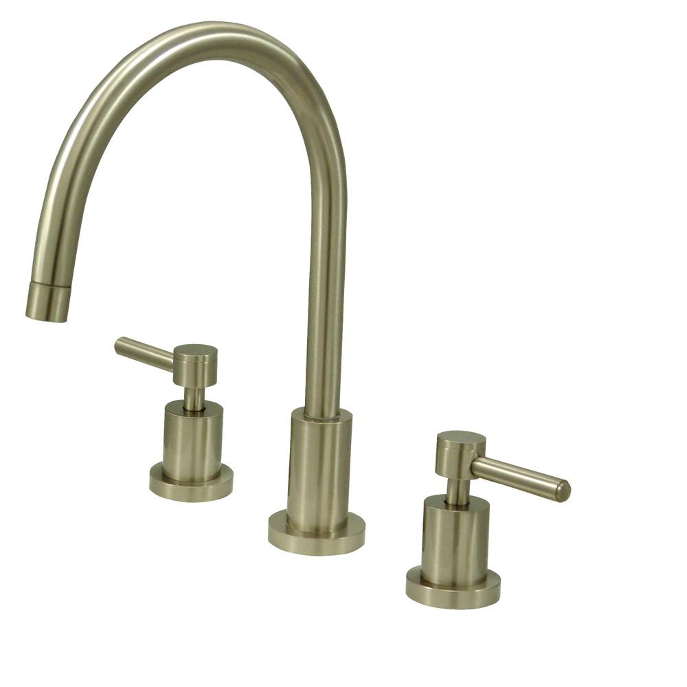 Kingston Concord Satin Nickel 2 Handle Widespread Kitchen Faucet KS8728DLLS