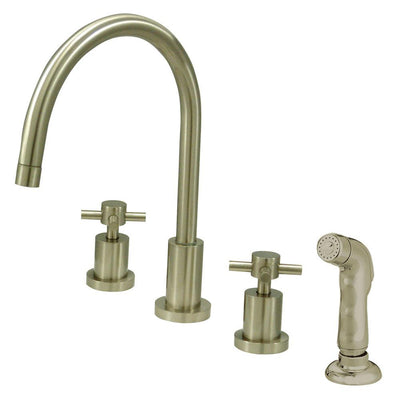 Satin Nickel Two Handle Widespread Kitchen Faucet Matching Sprayer KS8728DX