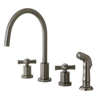 Kingston Brass KS8728ZX Widespread Kitchen Faucet Satin Nickel