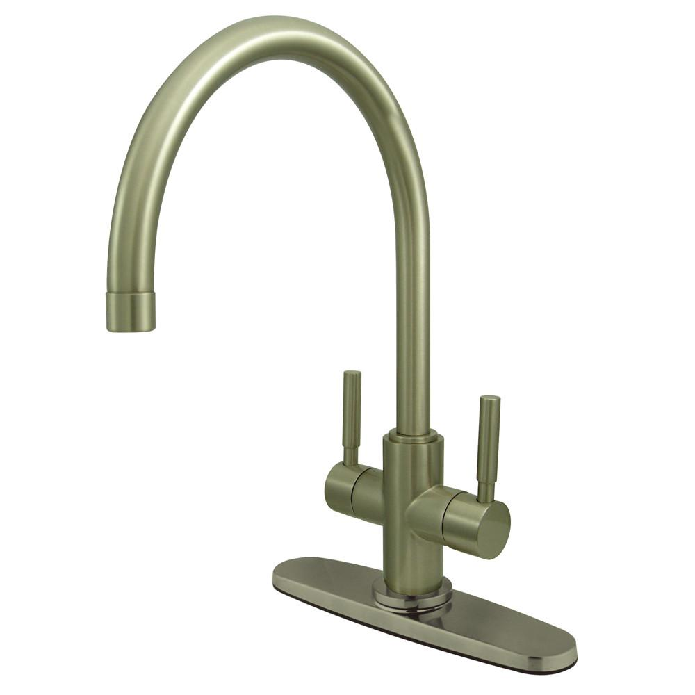 Kingston Brass Concord Satin Nickel 2 Handle Kitchen Faucet w/ Plate KS8778DLLS