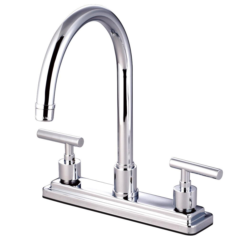 "Kingston Brass Chrome Manhattan 8"" kitchen faucet without sprayer KS8791CMLLS"