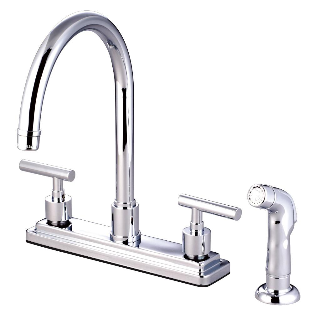 "Kingston Brass Chrome Manhattan 8"" kitchen faucet with plastic sprayer KS8791CML"