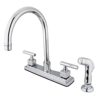 "Claremont Chrome Two handle 8"" Kitchen Faucet Matching Sprayer KS8791CQL"