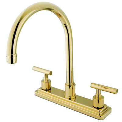 "Kingston Polished Brass Manhattan 8"" kitchen faucet without sprayer KS8792CMLLS"
