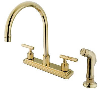 "Kingston Polished Brass Manhattan 8"" kitchen faucet with side spray KS8792CML"
