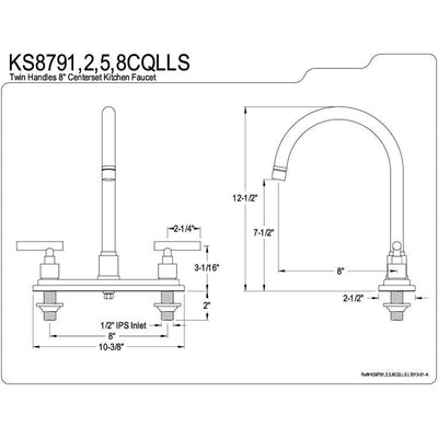 "Kingston Brass Claremont Polished Brass Two handle 8"" Kitchen Faucet KS8792CQLLS"