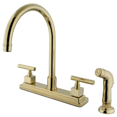 "Claremont Polished Brass Two handle 8"" Kitchen Faucet Matching Sprayer KS8792CQL"