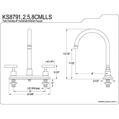 "Kingston Oil Rubbed Bronze Manhattan 8"" kitchen faucet KS8795CMLLS"